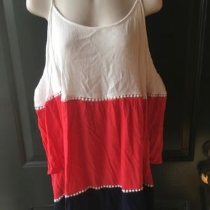 Umgee open shoulder red white & blue top!